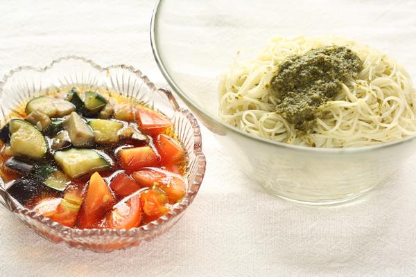 夏野菜のイタリアンそーめん